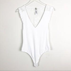 Free people leotard bodysuit white ruffled sleeves